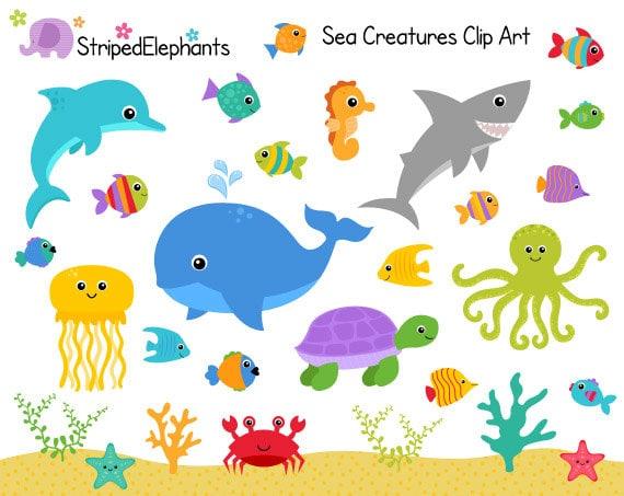 sea creatures clip art under