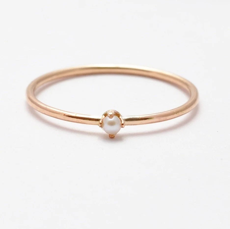 Gold Pearl Ring White Pearl  14K Yellow Gold Filled June