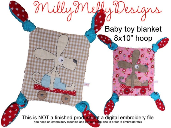 8x10 hoop - Baby Toy Blanket - ITH - In The Hoop - Machine Embroidery Design File, digital download