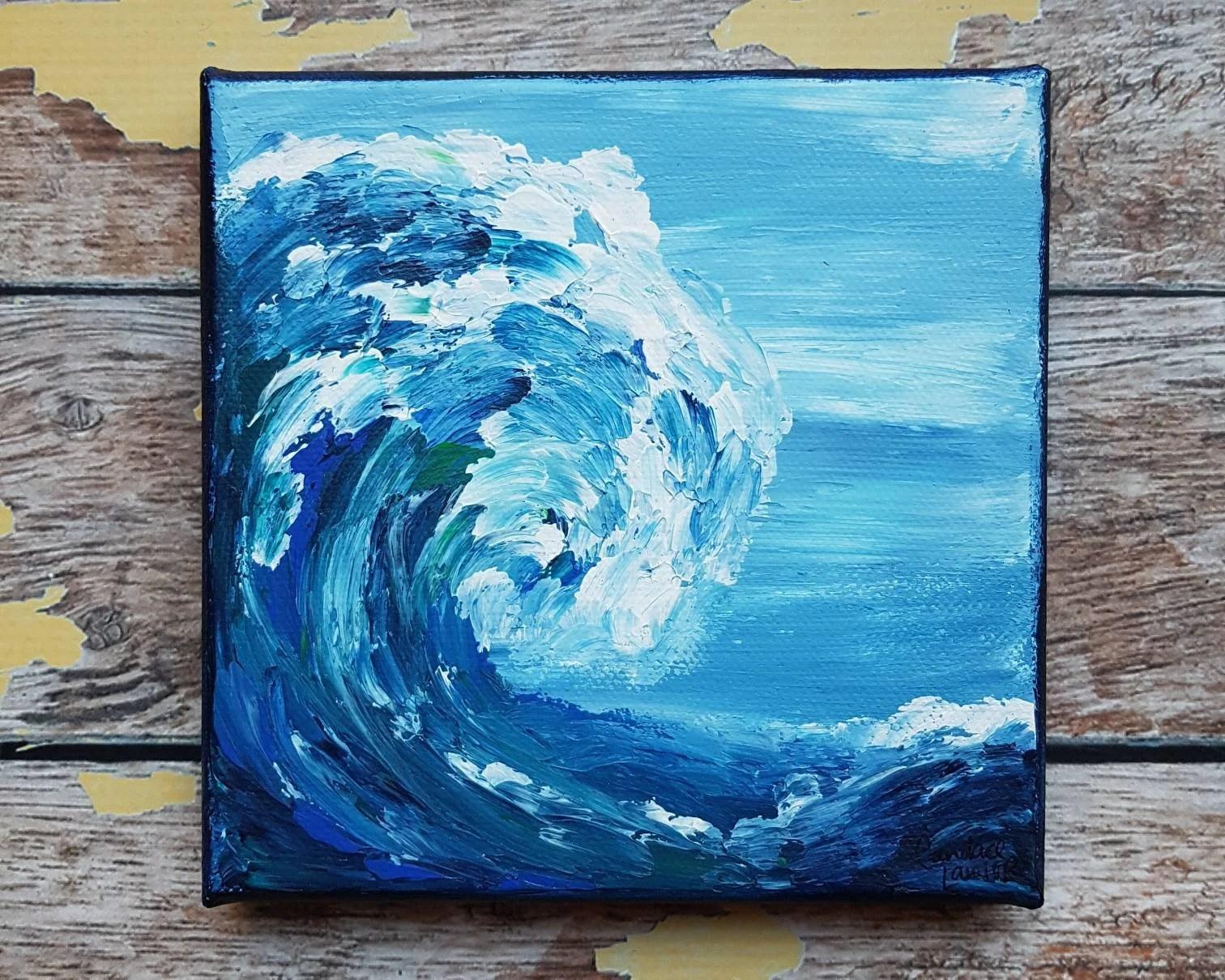 Ocean Canvas Art Wave Painting Beach Decor