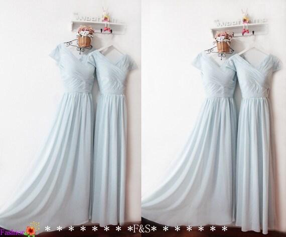 Cap Sleeve Bridesmaid DressDusty Blue Bridesmaid DressLong
