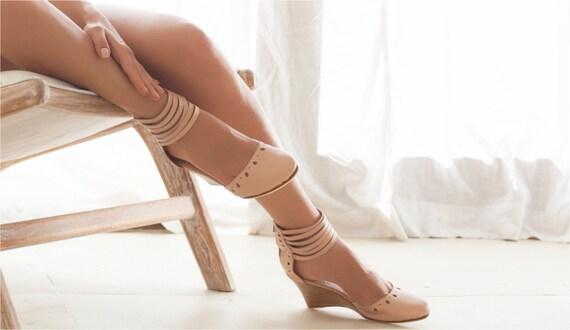 ANATOLIA Nude leather wedges  bridal wedge  high heels