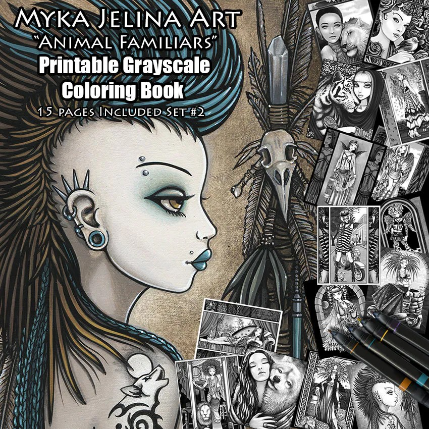 Set 2 Grayscale Printable Coloring Book Myka Jelina Art