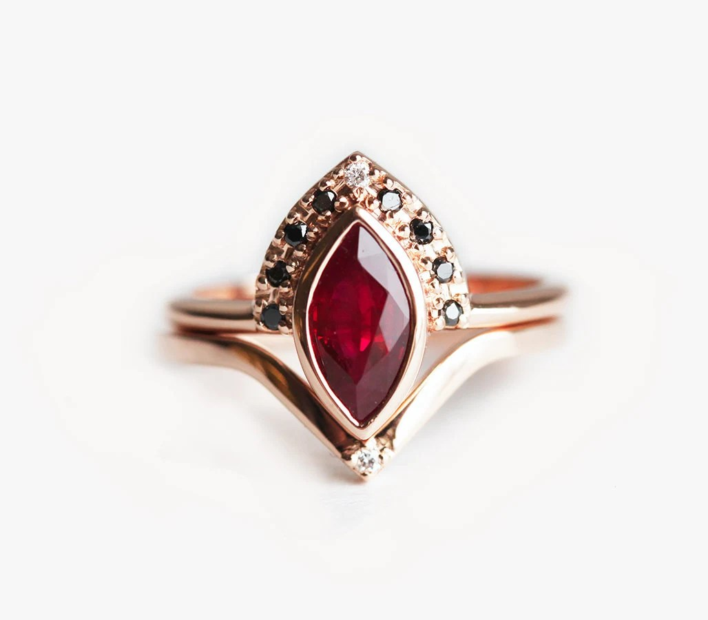 Ruby Engagement Ring Ruby Wedding Set Ruby Diamond Ring