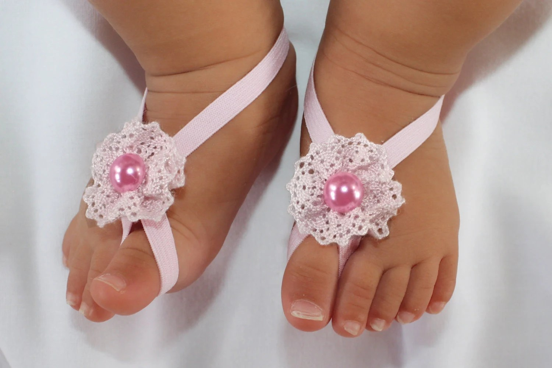 Pink Flower Sandals Barefoot Baby