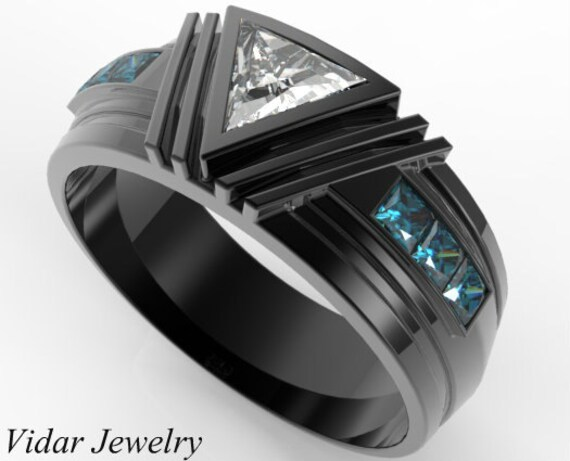 Mens Wedding BandUnique Wedding BandTriangle Diamond