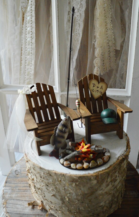 Fishing wedding cake topper large mouth bass fishing groom