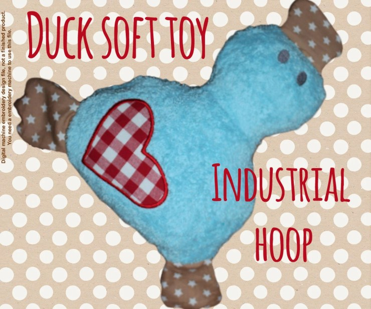 DUCK soft toy - For industrial hoop - ITH - machine embroidery file - digital download
