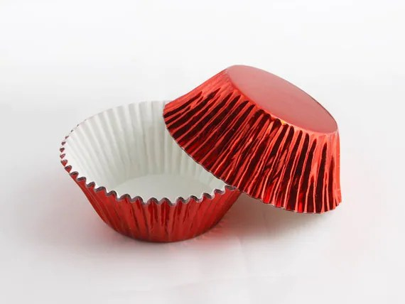 50 Red Foil Cupcake Liners Baking Cups Greaseproof