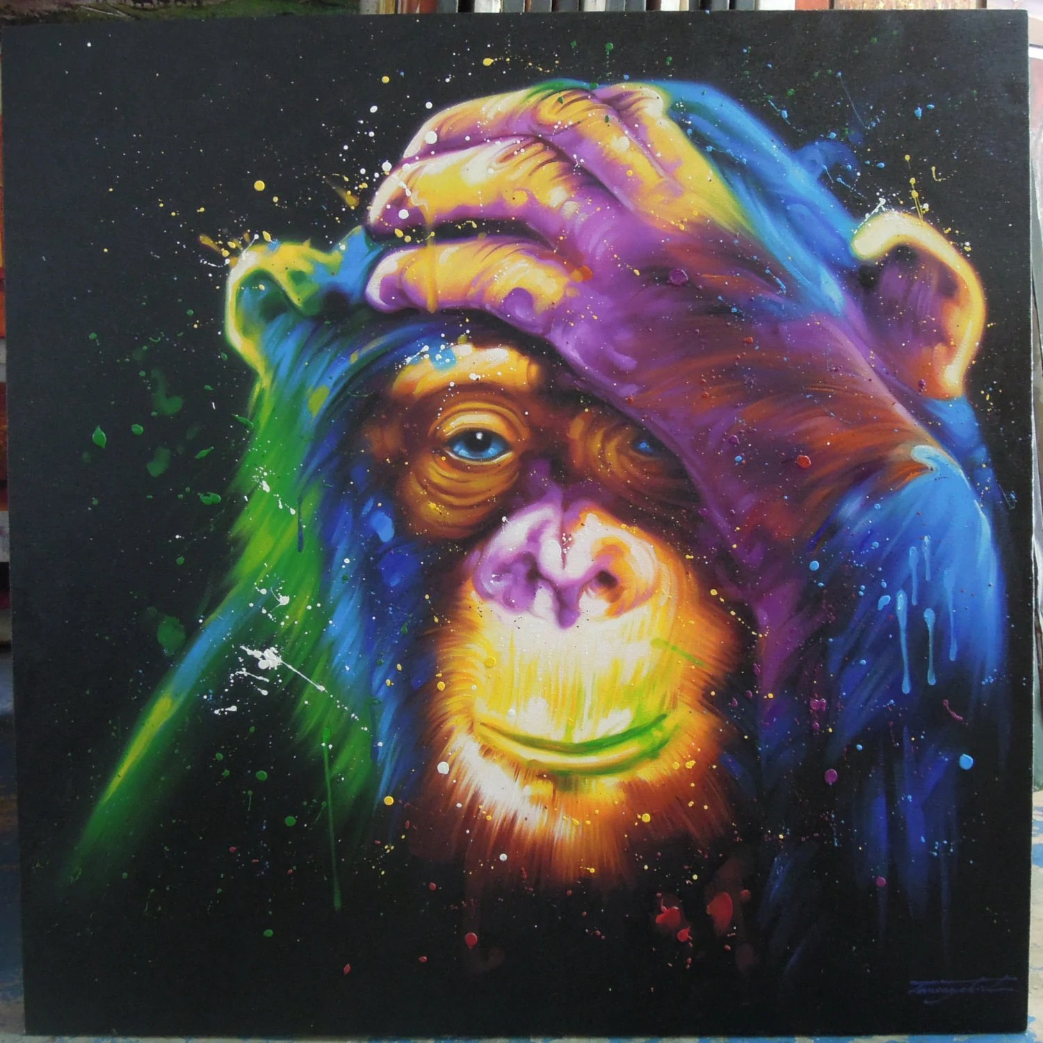Colorful Monkey painting oil painting on canvas