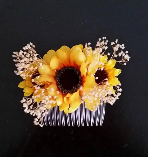 sunflower wedding hair comb accessory