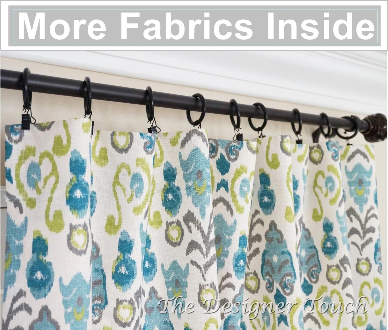 Pair Peacock Curtain Panelswi Green Navy Blue Curtains Ikat