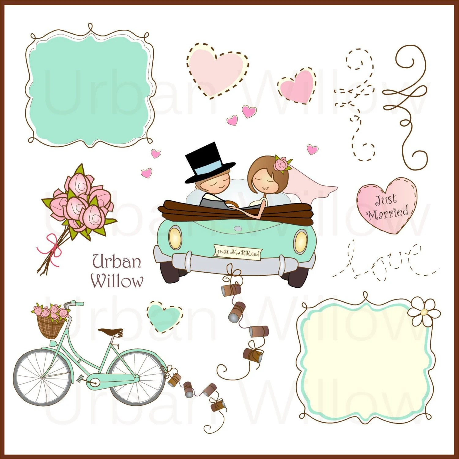 Just Married in Minze 13 Stck ClipArt set in
