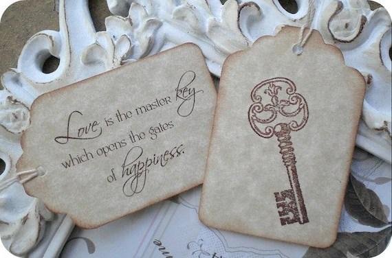 Love Quote  Skeleton Key Wedding Favor Tags 10 Wedding
