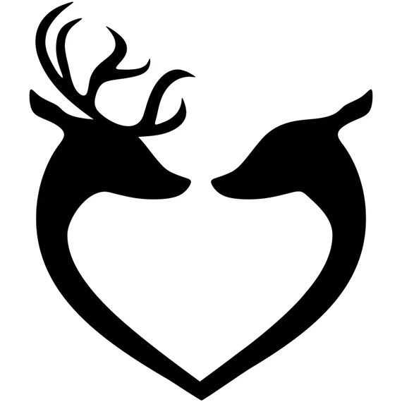 Download Deer SVG, Buck and Doe SVG, Deer Head Couple Silhouette ...