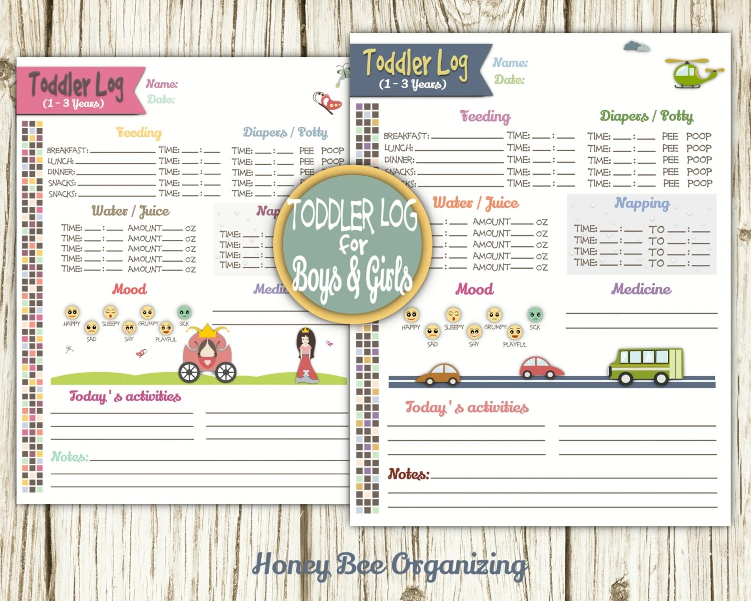 infant daily log printable