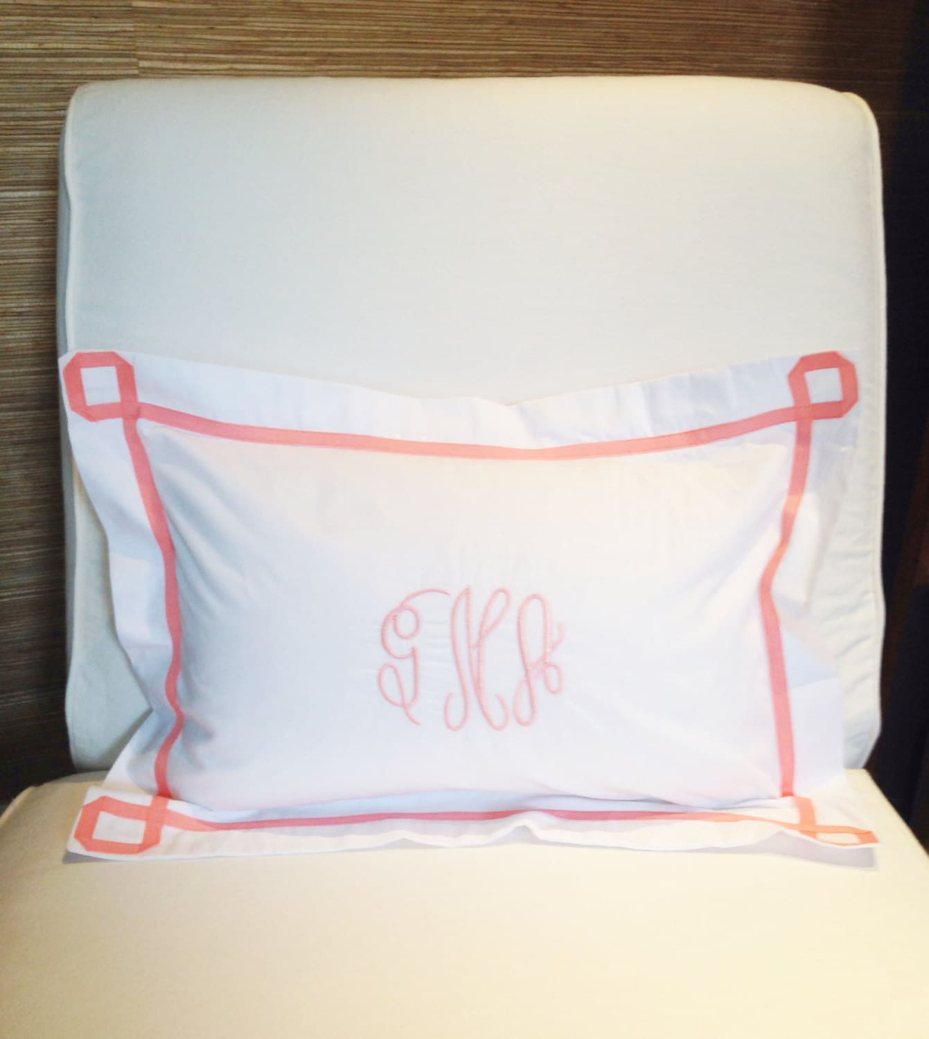 Monogram Boudoir Pillow Sham With Ribbon Trestle Trim