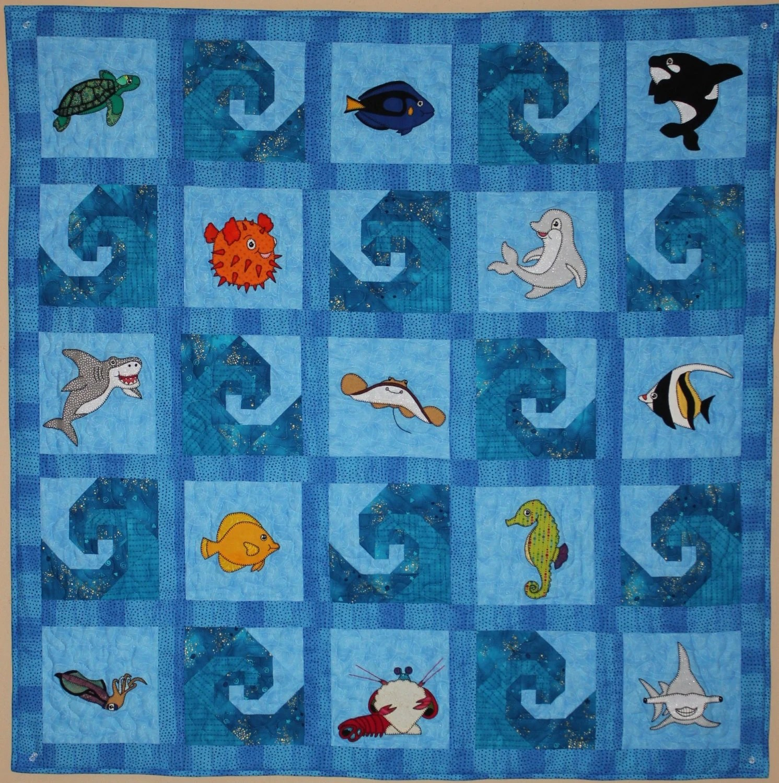 Ocean Animal Applique Baby Quilt Pattern Paper Pieced