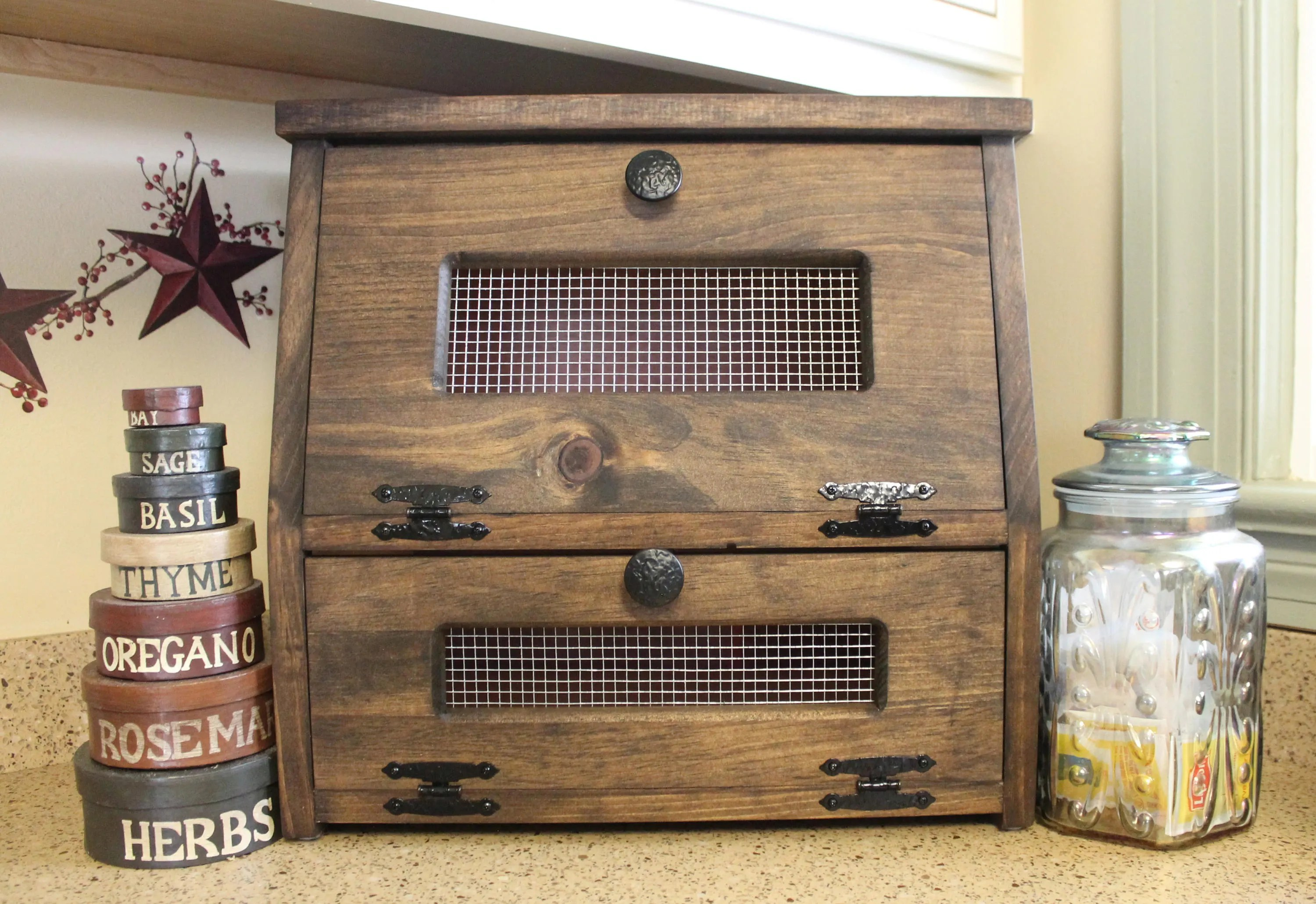 Rustic Bread Box wooden Vegetable Potato Bin Storage Primitive
