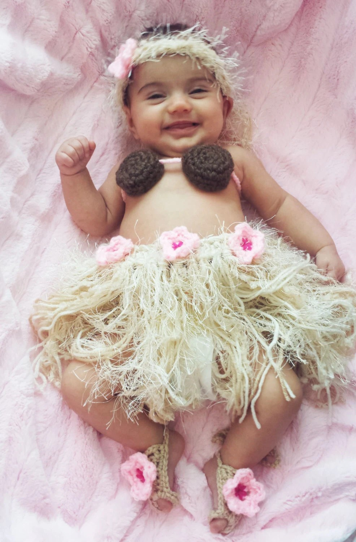 Baby Girl Toddler Hawaiian Hula Set Barefoot Sandals
