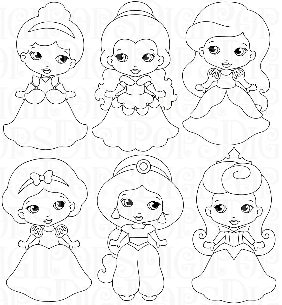Little Princesses B Amp W Digital Clip Art Set Personal And