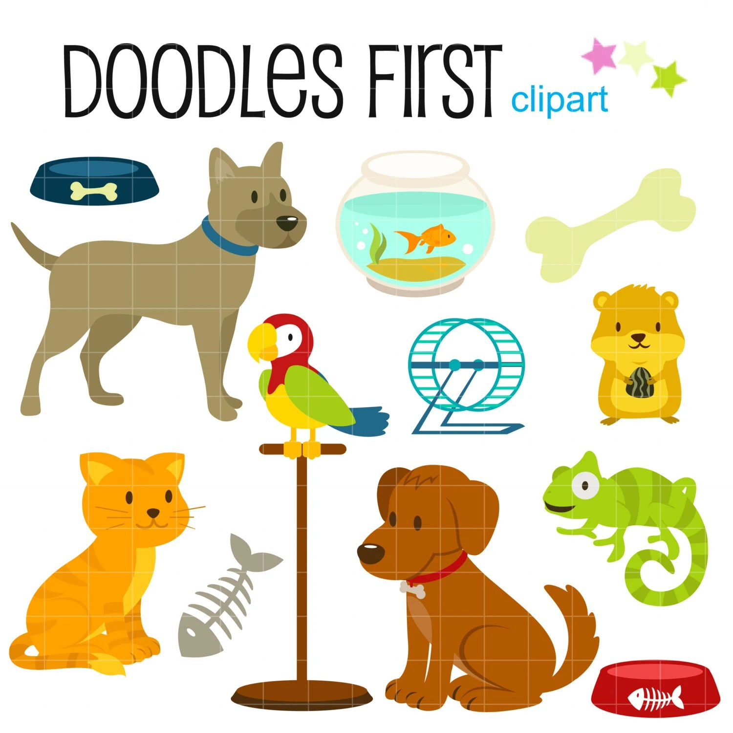 Petshop Animals And Accesories Digital Clip Art For