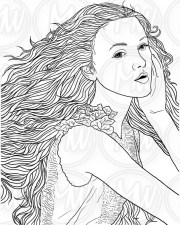 adult coloring page woman face