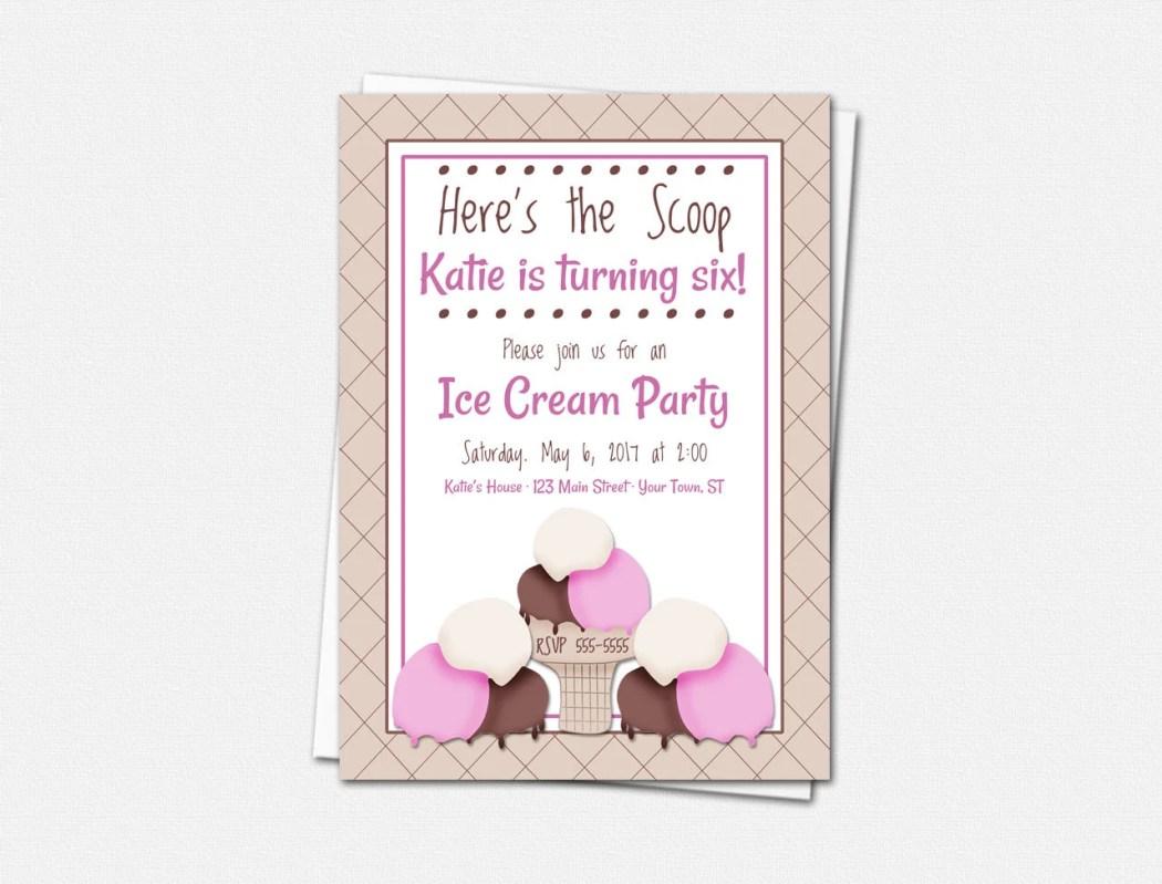 Ice Cream Party Invitatio...