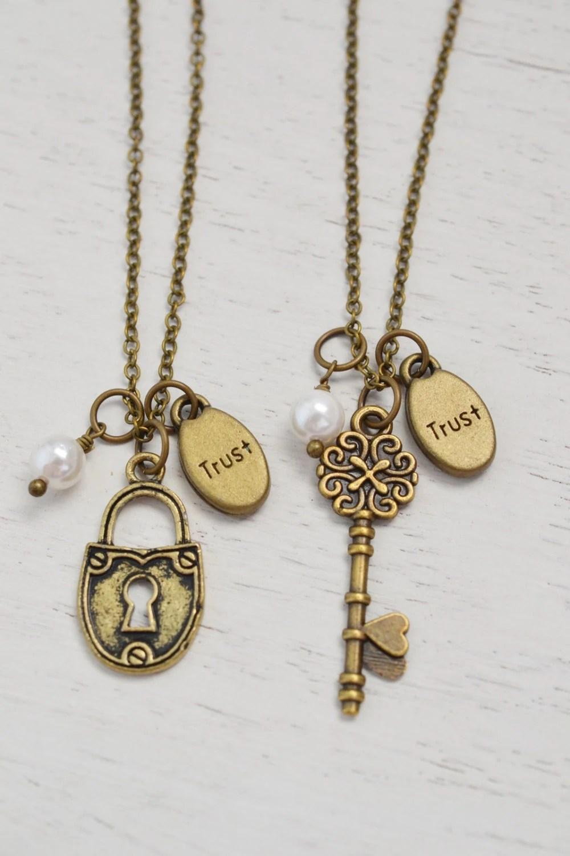 Best Friend Necklace Friendship Gift Heart Key Jewelry Lock