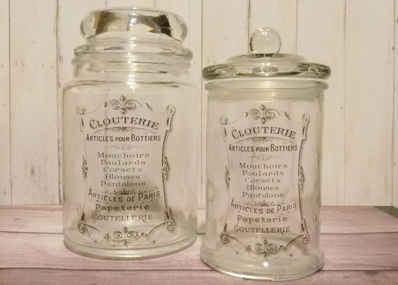 French label Apothecary Jar french glass jar Vintage style