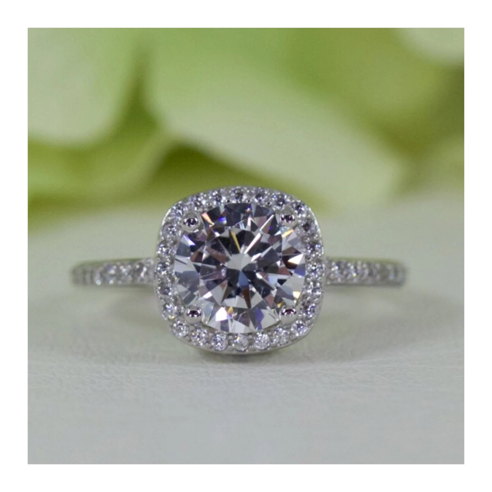 1.50 Ct. Cushion Halo With Cut Cubic Zirconia Ring