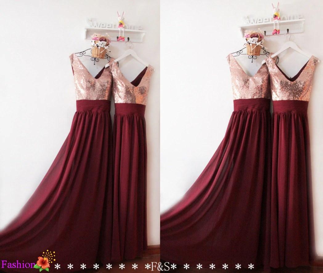 Rose Gold and Burgundy Bridesmaid Dresses