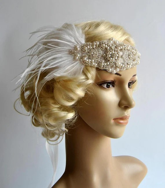 1920's rhinestone pearls flapper