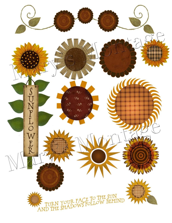 sunflower clip art sheet &