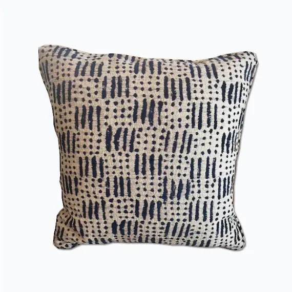 Ivory and navy blue decorative pillow
