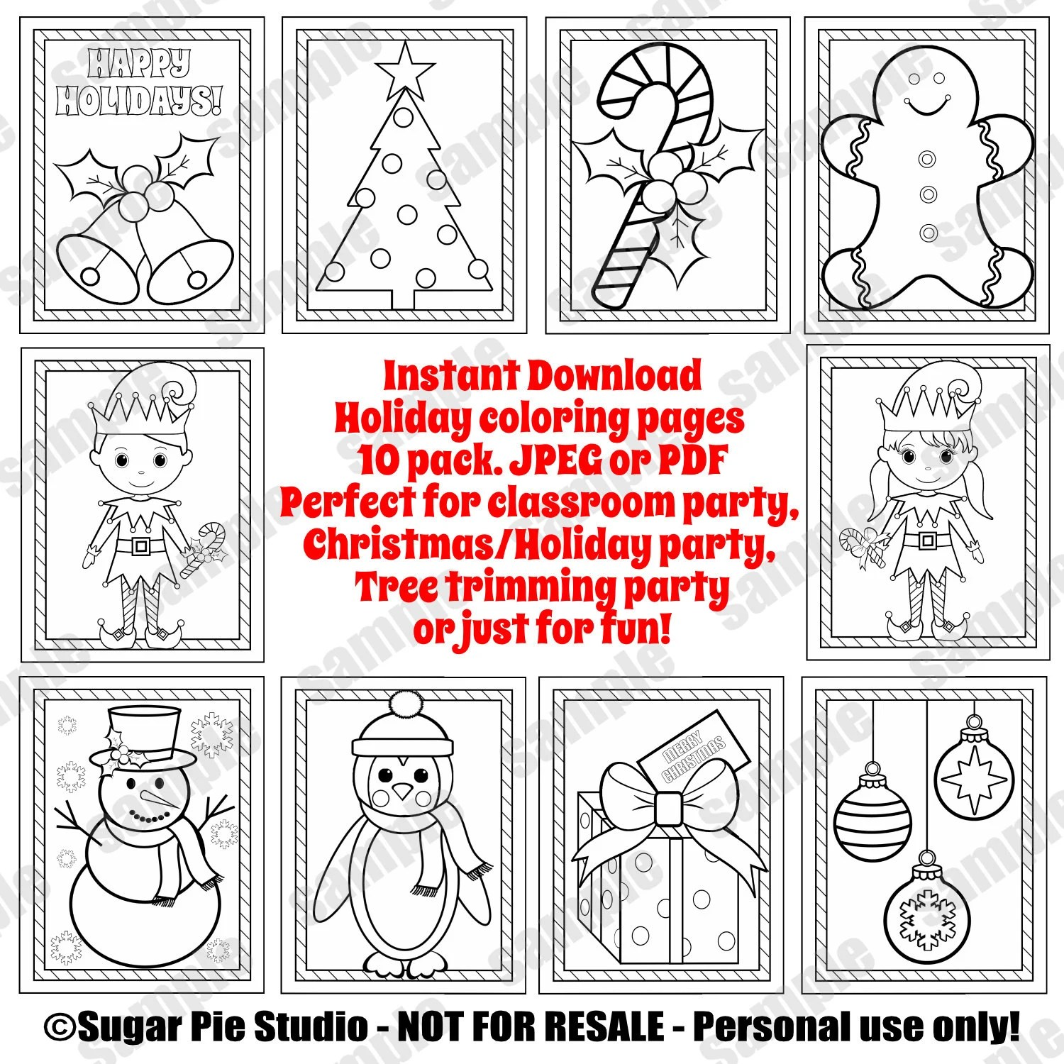 Christmas Coloring Pages Holiday Coloring Sheets Party Favor