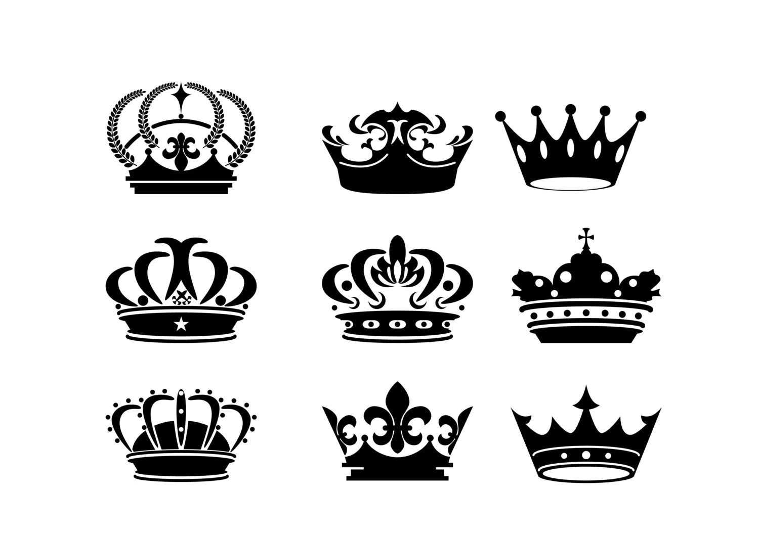 Crown Silhouette Digital Clipart Vector Eps Files Black