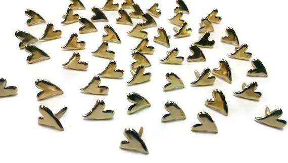 Pkt of Gold Heart Fasteners or Brads