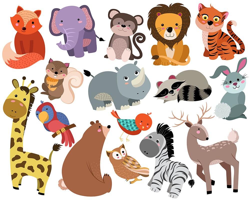 cute animals clip art - set of