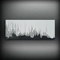 Black and White Silver Painting 16 x 40 Acrylic Painting ...
