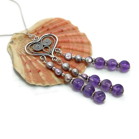 Amethyst Birthstone Necklace with Freshwater Pearls.