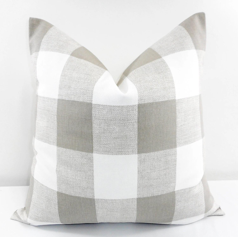 buffalo check sofa cover long sectional ecru pillow