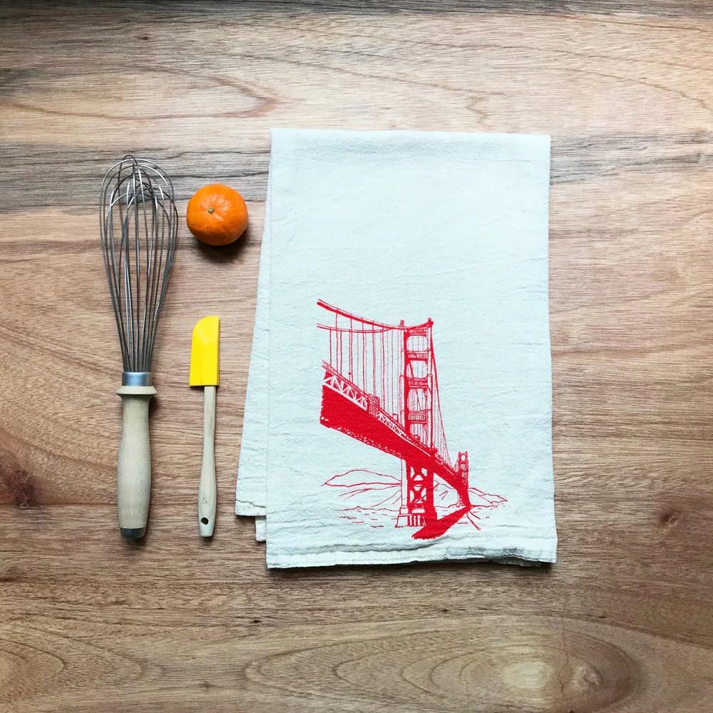 Flour Sack Dish Towel Golden Gate Bridge In Red Ink San