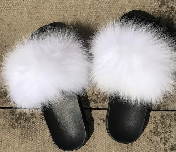 London Genuine Nike white Fox fur slides slippers real fur