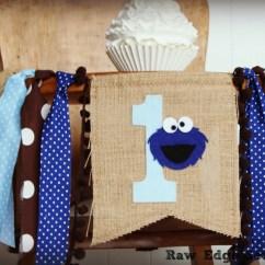 Cookie Monster Chair Wheelchair Zipper 2 Birthday High Highchair Banner Party