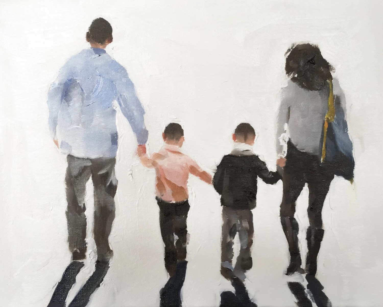 Family Walking Painting Art Print Walk
