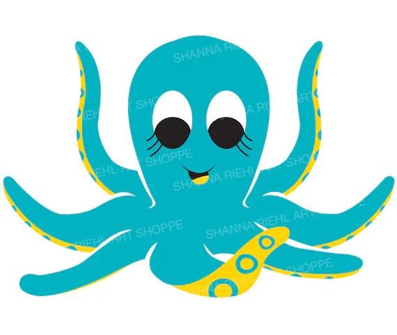 cute octopus nautical clipart under