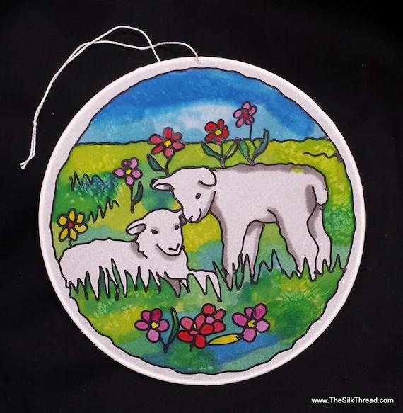 "Lamb, sheep art, whimsical hand painted silk art, 8"" diameter sun catcher, stained glass look, window art, wall decor by artist, baby lambs"