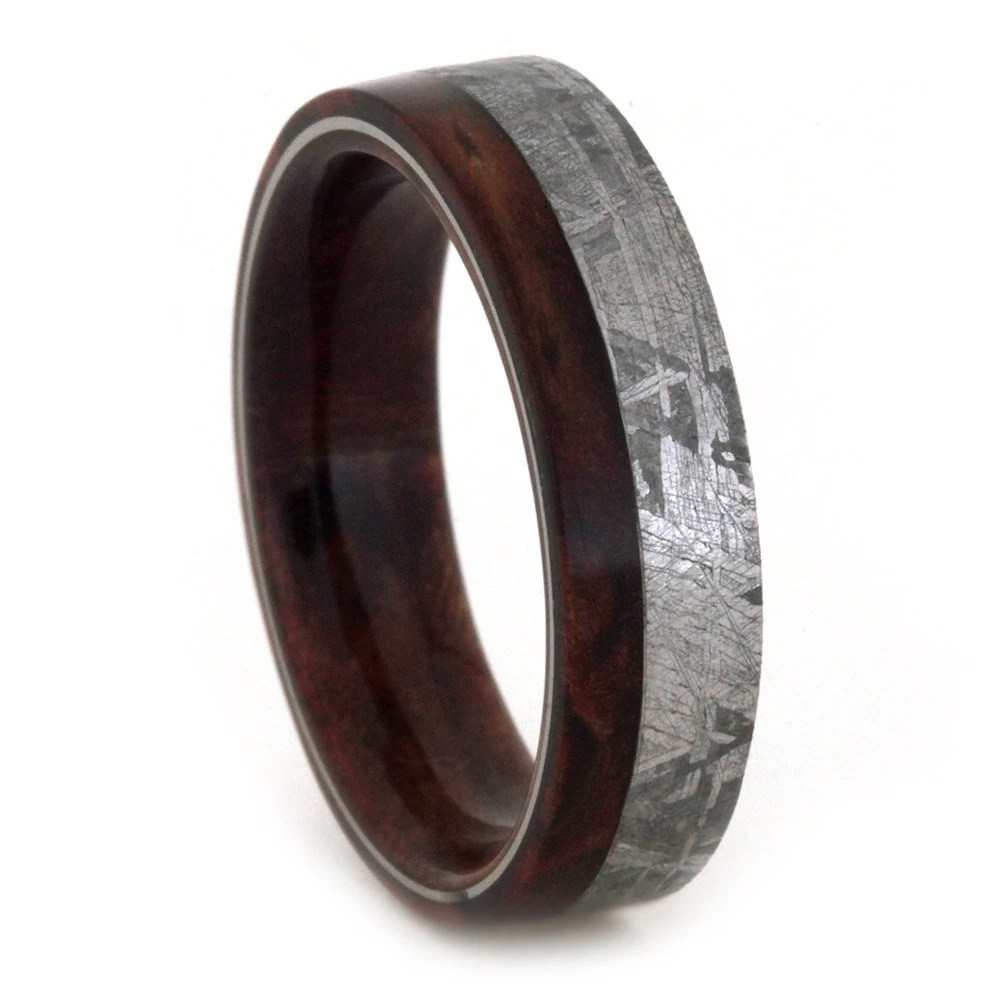 Meteorite Wedding Band Mens or Womens Wood Ring With