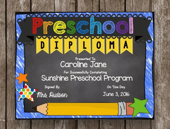 preschool graduation diploma printable